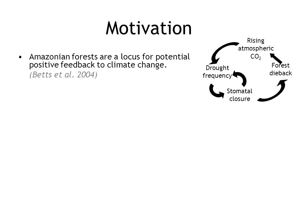 Motivation Amazonian forests are a locus for potential positive feedback to climate change (Betts et al.