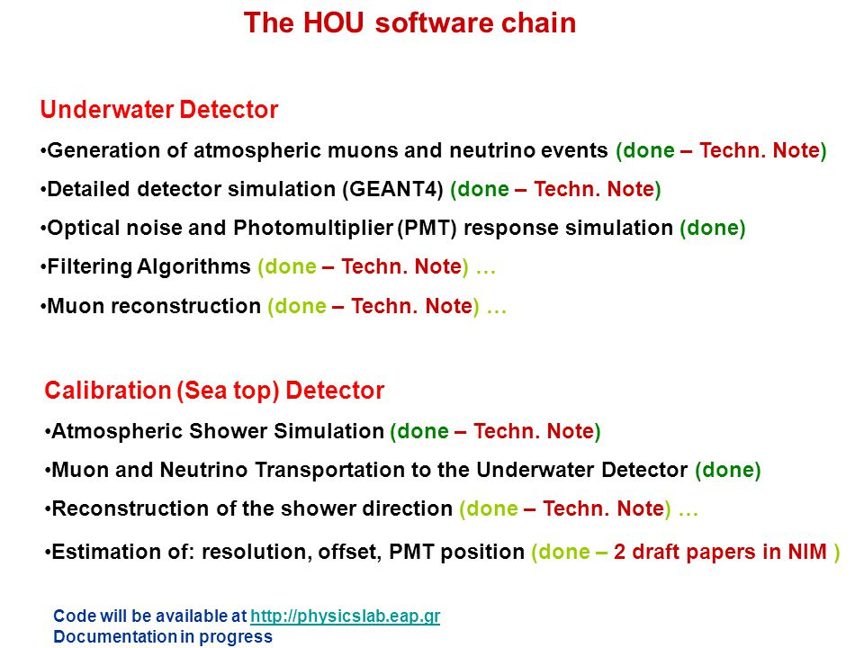 The HOU software chain Underwater Detector Generation of atmospheric muons and neutrino events (done – Techn. Note) Detailed detector simulation (GEAN