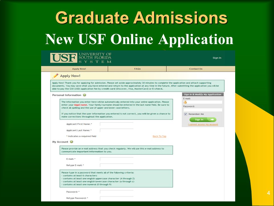 Graduate Admissions New USF Online Application 4