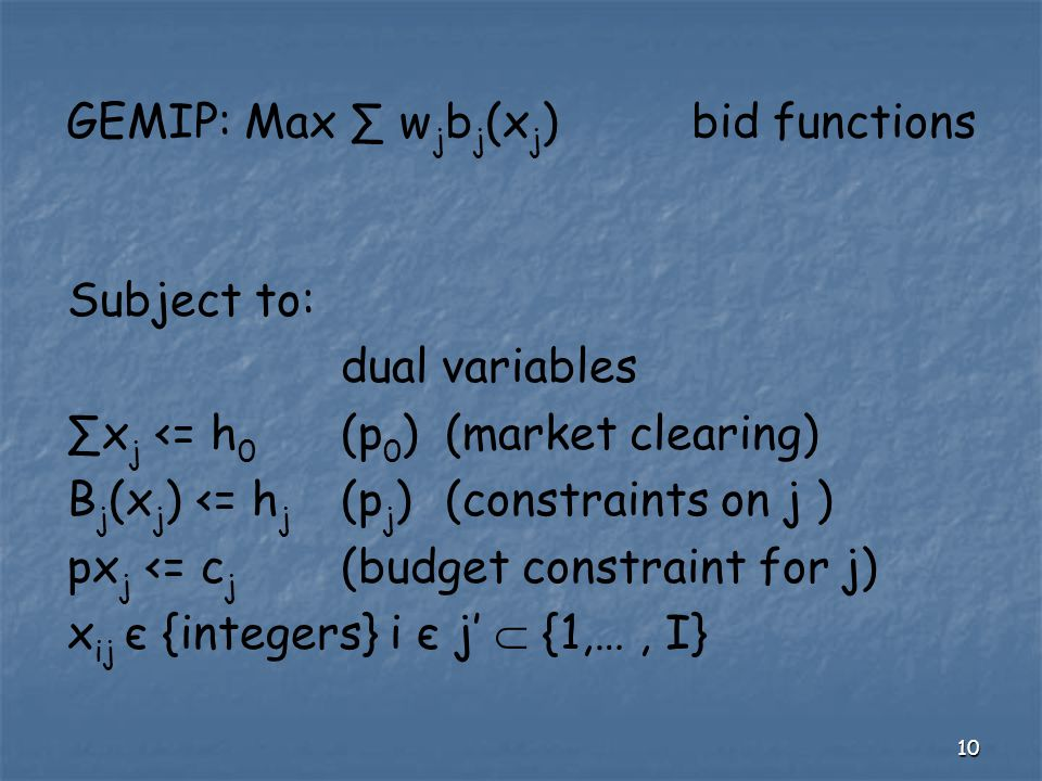 10 GEMIP: Max ∑ w j b j (x j )bid functions Subject to: dual variables ∑x j <= h 0 (p 0 )(market clearing) B j (x j ) <= h j (p j )(constraints on j )