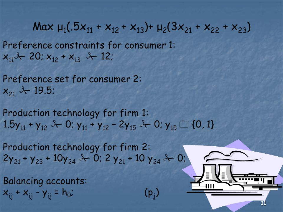 11 Max μ 1 (.5x 11 + x 12 + x 13 )+ μ 2 (3x 21 + x 22 + x 23 ) Preference constraints for consumer 1: x 11  20; x 12 + x 13  12; Preference set for