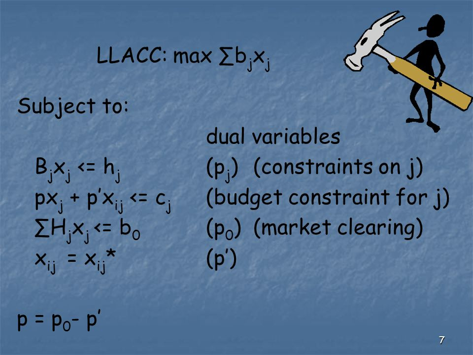 7 LLACC: max ∑b j x j Subject to: dual variables B j x j <= h j (p j )(constraints on j) px j + p'x ij <= c j (budget constraint for j) ∑H j x j <= b