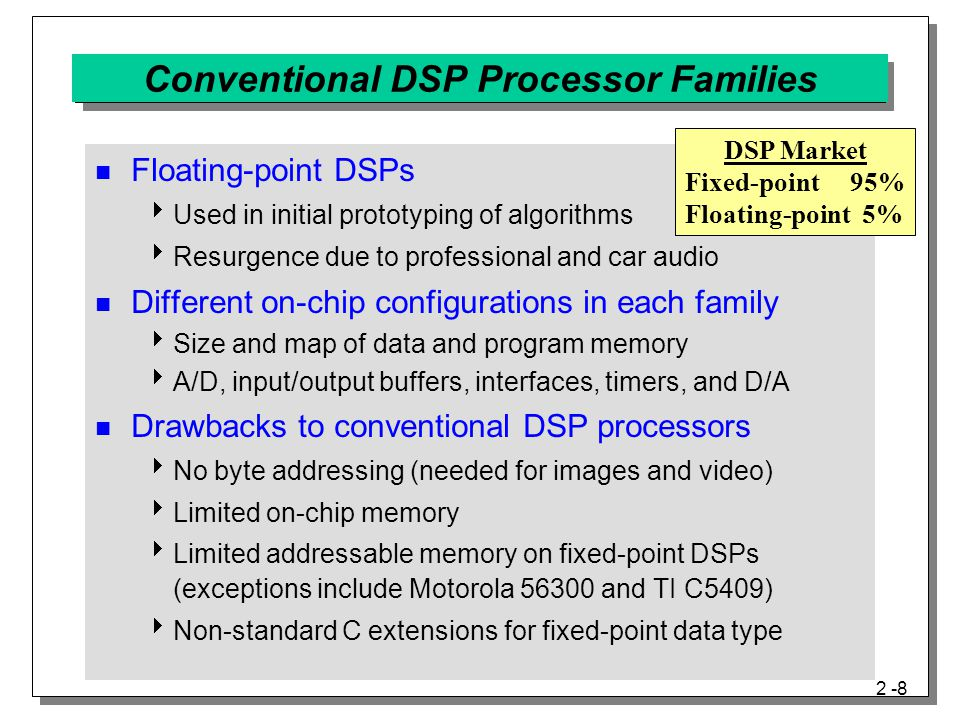 2 -8 Conventional DSP Processor Families Floating-point DSPs  Used in initial prototyping of algorithms  Resurgence due to professional and car audio Different on-chip configurations in each family  Size and map of data and program memory  A/D, input/output buffers, interfaces, timers, and D/A Drawbacks to conventional DSP processors  No byte addressing (needed for images and video)  Limited on-chip memory  Limited addressable memory on fixed-point DSPs (exceptions include Motorola 56300 and TI C5409)  Non-standard C extensions for fixed-point data type DSP Market Fixed-point 95% Floating-point 5%