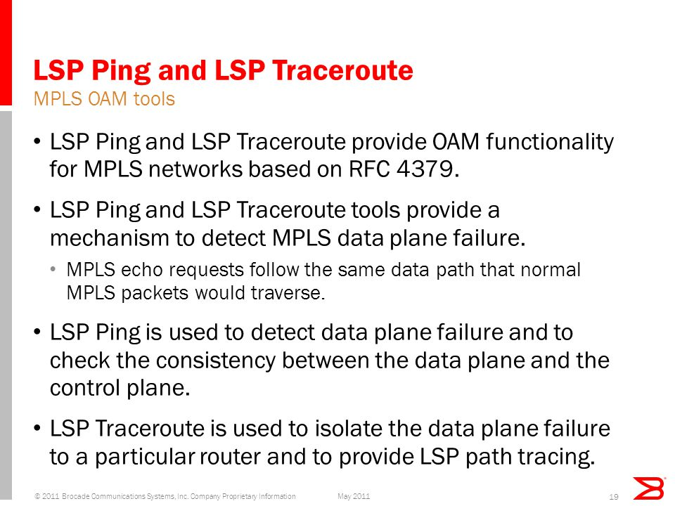 LSP Ping and LSP Traceroute LSP Ping and LSP Traceroute provide OAM functionality for MPLS networks based on RFC 4379.