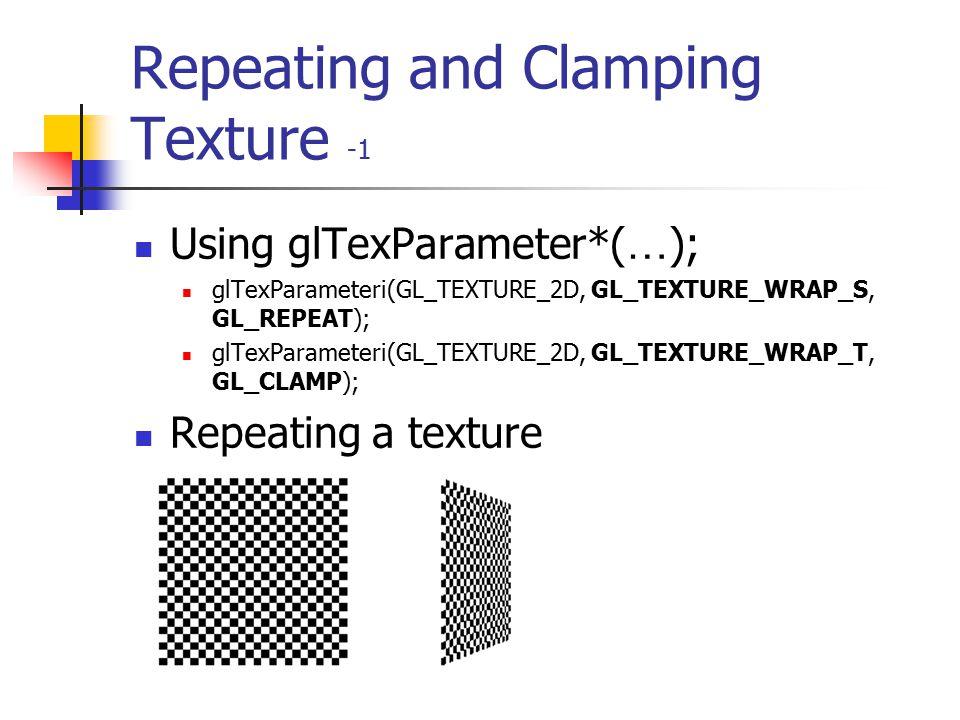 Assigning Texture Coordinates void glTexCoord{1234}{sifd}(TYPEcoords); void glTexCoord{1234}{sifd}v(TYPE *coords); glTexCoord2f( 0.5, 0.5 ); Texture M