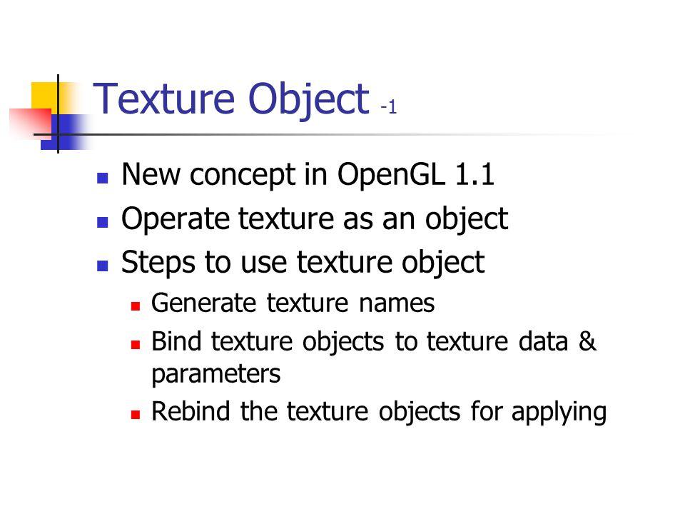 Introduction static GLuint texName[1]; glPixelStorei(GL_UNPACK_ALIGNMENT, 1); glGenTextures(1, texName); glBindTexture(GL_TEXTURE_2D, texName[0]); glT