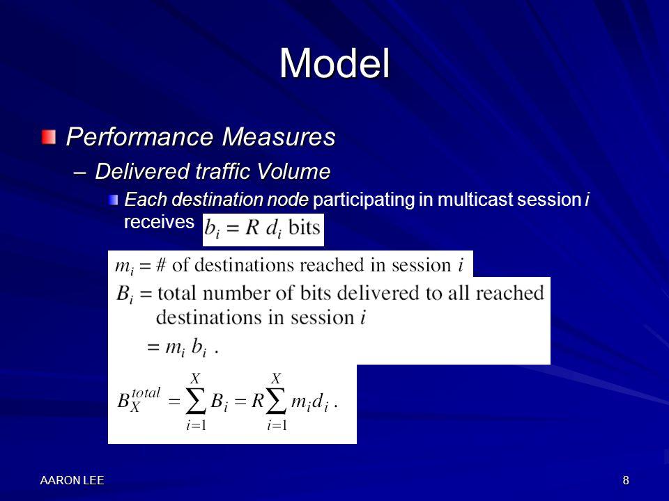 AARON LEE8 Model Performance Measures –Delivered traffic Volume Each destination node Each destination node participating in multicast session i receives