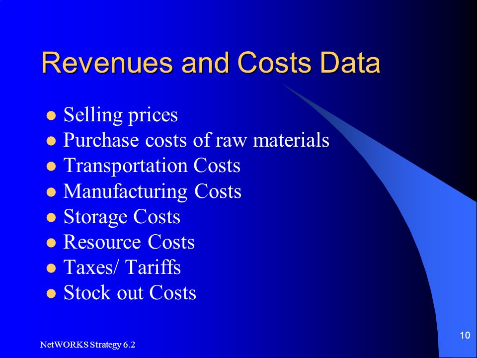 NetWORKS Strategy 6.2 10 Revenues and Costs Data Selling prices Purchase costs of raw materials Transportation Costs Manufacturing Costs Storage Costs