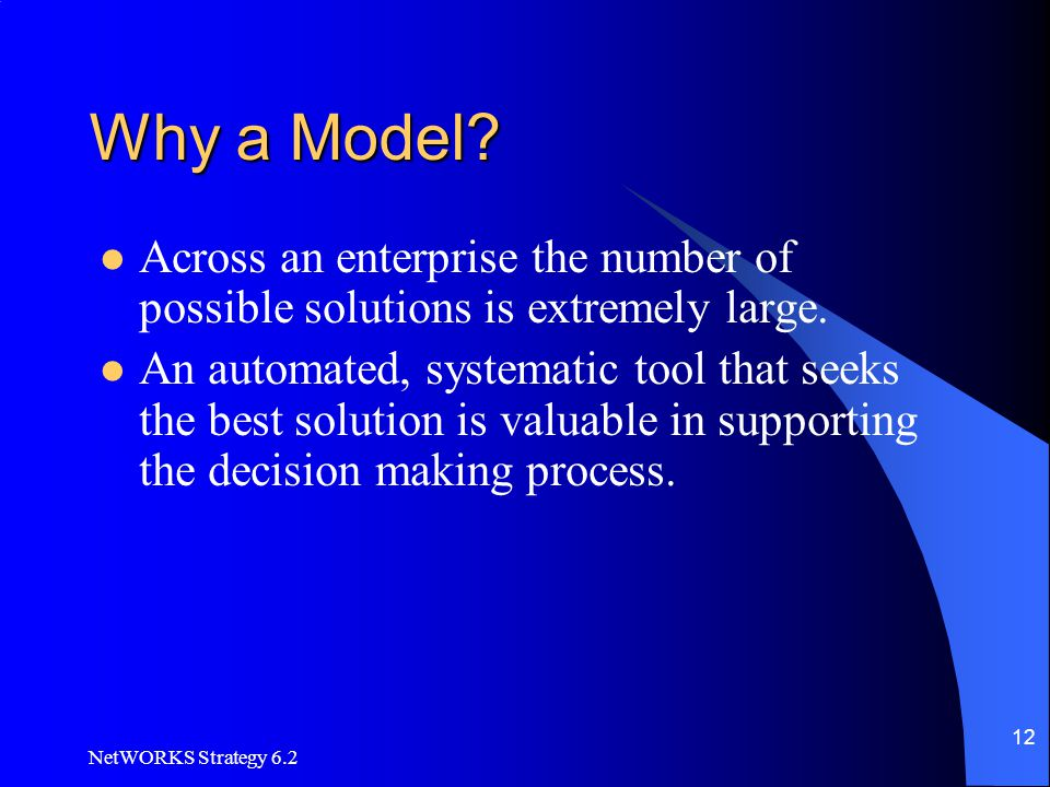 NetWORKS Strategy 6.2 12 Why a Model? Across an enterprise the number of possible solutions is extremely large. An automated, systematic tool that see
