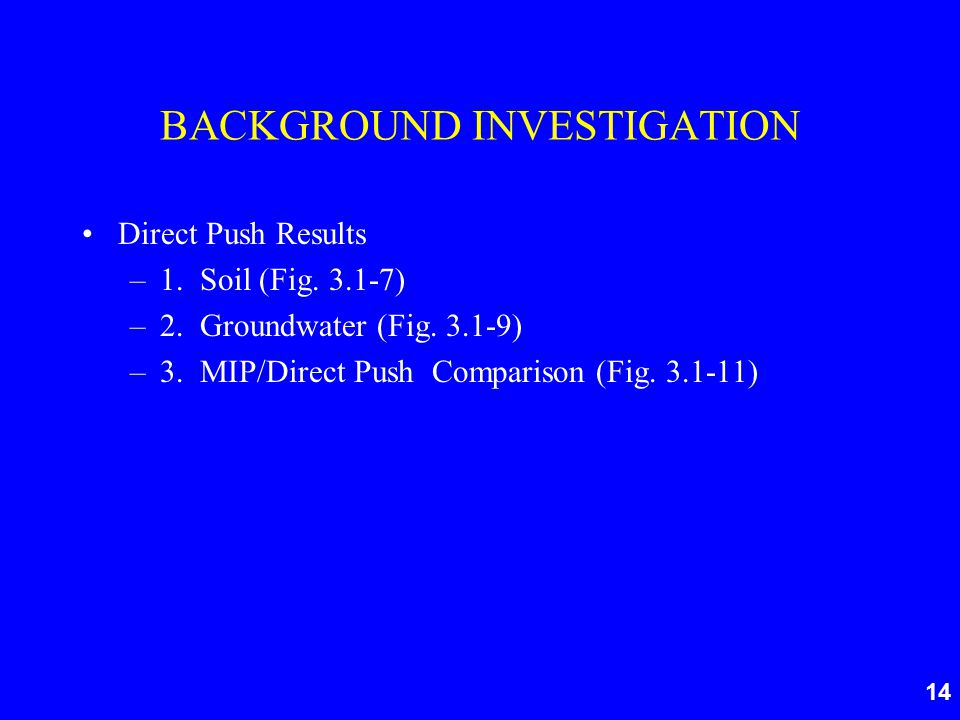 14 BACKGROUND INVESTIGATION Direct Push Results –1.