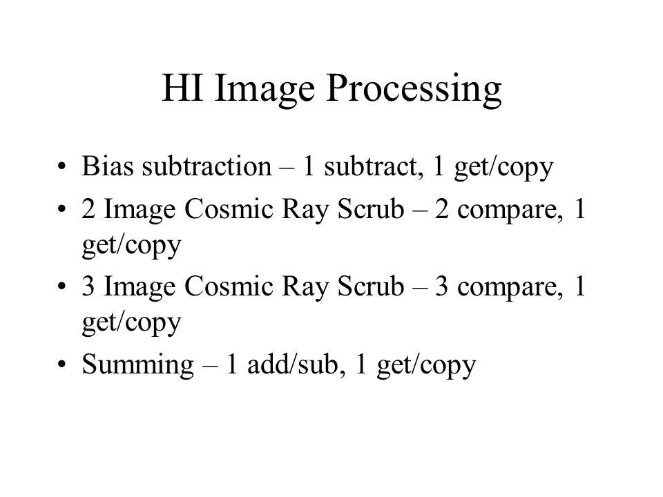 HI Image Processing Bias subtraction – 1 subtract, 1 get/copy 2 Image Cosmic Ray Scrub – 2 compare, 1 get/copy 3 Image Cosmic Ray Scrub – 3 compare, 1 get/copy Summing – 1 add/sub, 1 get/copy