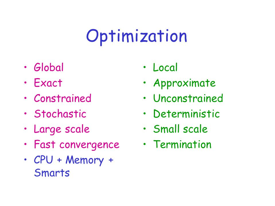 Optimization Global Exact Constrained Stochastic Large scale Fast convergence CPU + Memory + Smarts Local Approximate Unconstrained Deterministic Small scale Termination