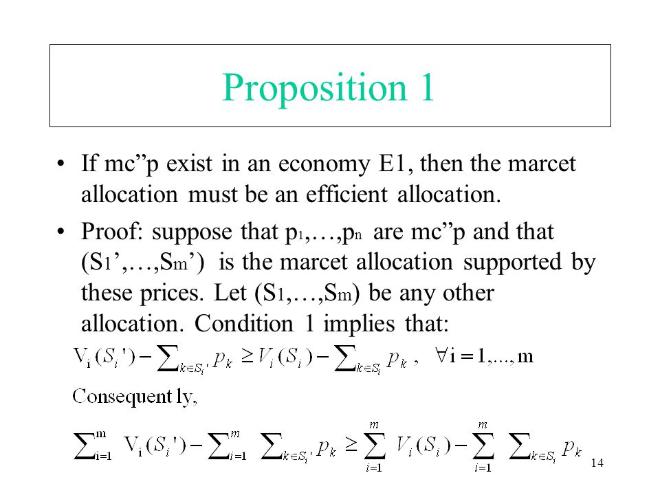"14 Proposition 1 If mc""p exist in an economy E1, then the marcet allocation must be an efficient allocation. Proof: suppose that p 1,…,p n are mc""p an"
