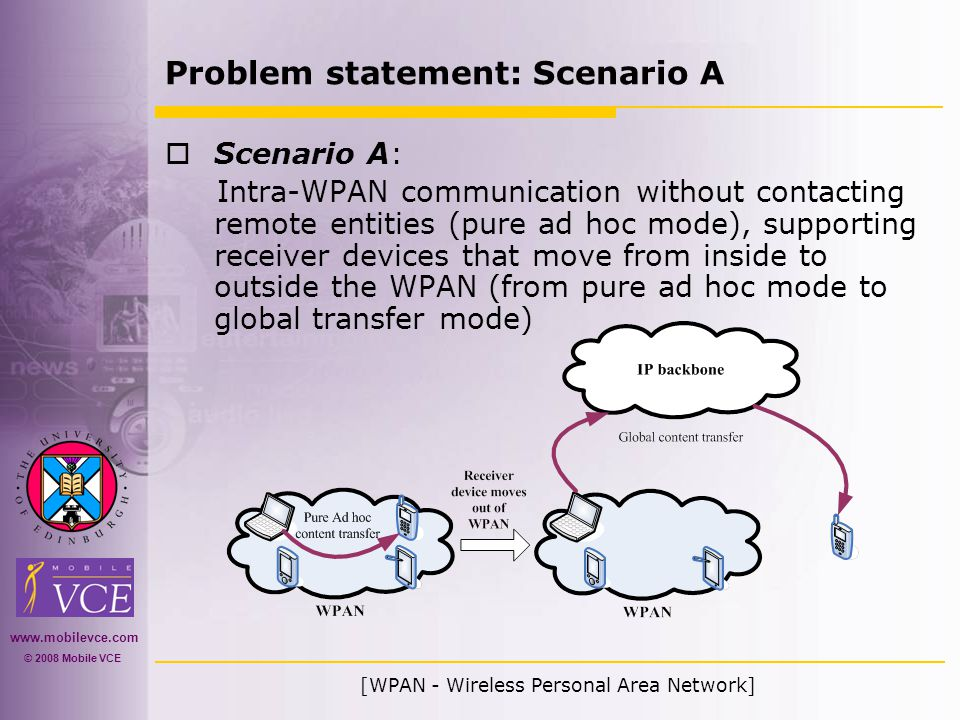 www.mobilevce.com © 2008 Mobile VCE Problem statement: Scenario A  Scenario A: Intra-WPAN communication without contacting remote entities (pure ad hoc mode), supporting receiver devices that move from inside to outside the WPAN (from pure ad hoc mode to global transfer mode) [WPAN - Wireless Personal Area Network]