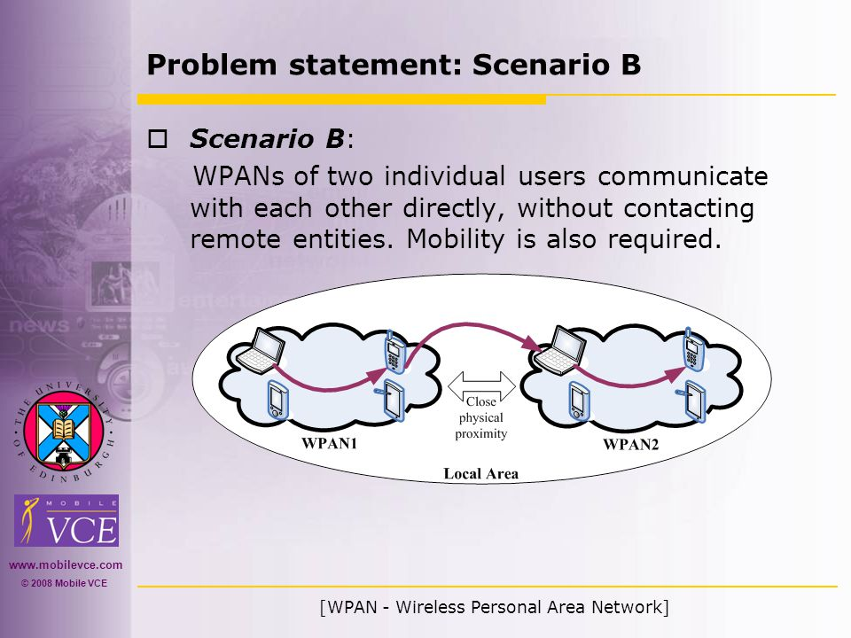 www.mobilevce.com © 2008 Mobile VCE Problem statement: Scenario B  Scenario B: WPANs of two individual users communicate with each other directly, without contacting remote entities.