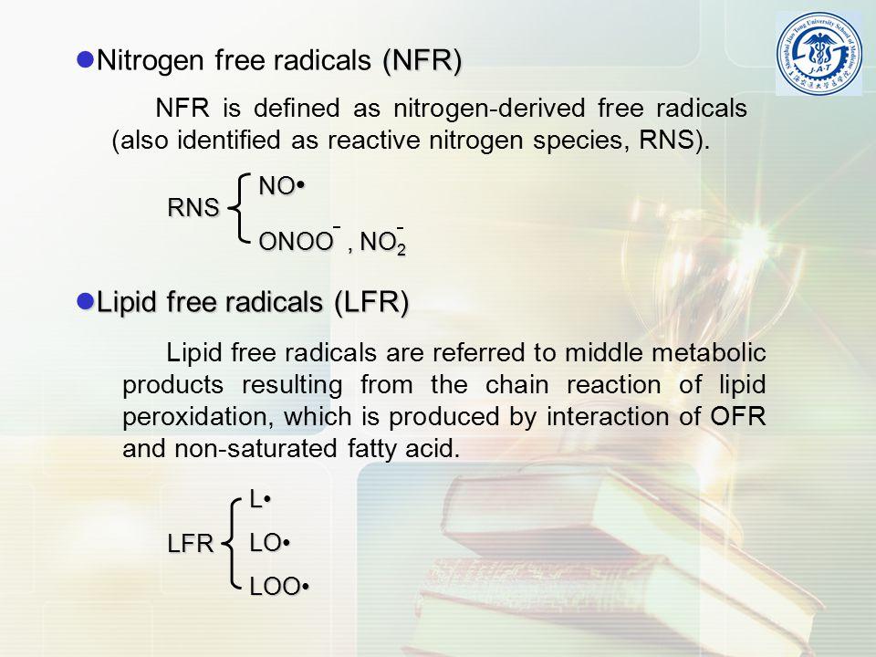 (NFR) Nitrogen free radicals (NFR) NFR is defined as nitrogen-derived free radicals (also identified as reactive nitrogen species, RNS).