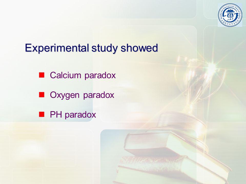 Experimental study showed Calcium paradox Oxygen paradox PH paradox
