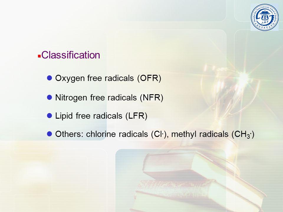 Oxygen free radicals (OFR) Nitrogen free radicals (NFR) Lipid free radicals (LFR) Others: chlorine radicals (Cl.