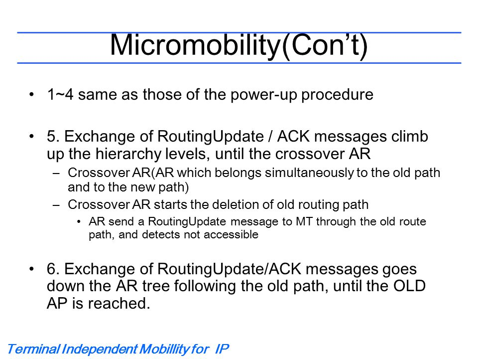 Terminal Independent Mobillity for IP Micromobility(Con't) 1~4 same as those of the power-up procedure 5. Exchange of RoutingUpdate / ACK messages cli
