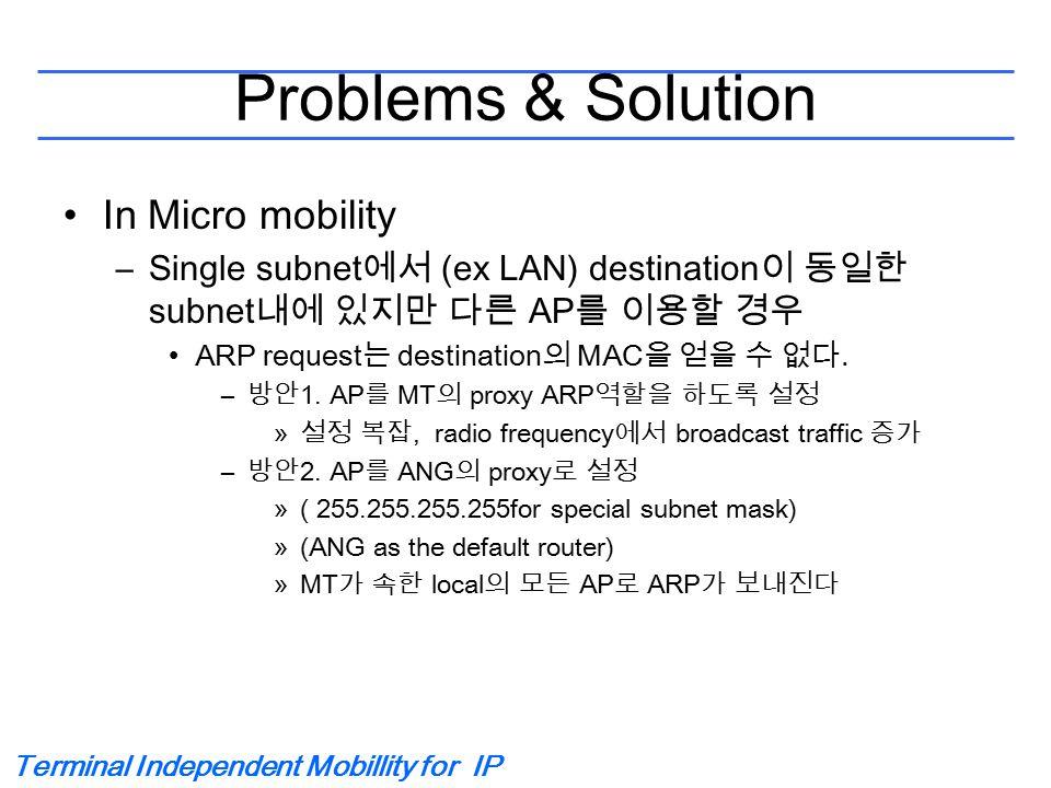 Terminal Independent Mobillity for IP Problems & Solution In Micro mobility –Single subnet 에서 (ex LAN) destination 이 동일한 subnet 내에 있지만 다른 AP 를 이용할 경우 ARP request 는 destination 의 MAC 을 얻을 수 없다.