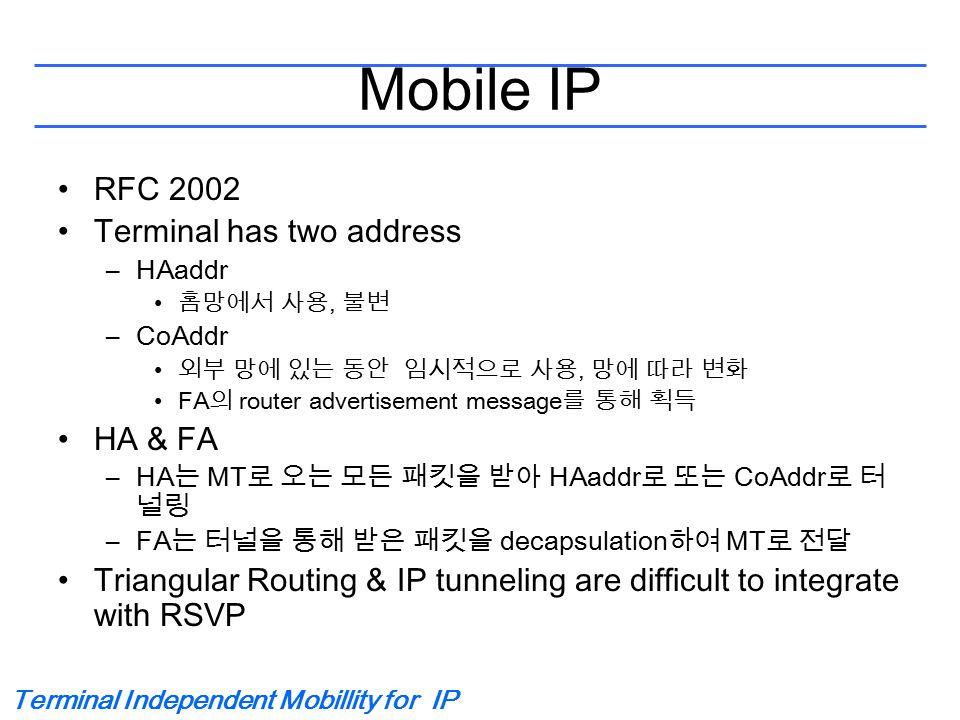 Terminal Independent Mobillity for IP Mobile IP RFC 2002 Terminal has two address –HAaddr 홈망에서 사용, 불변 –CoAddr 외부 망에 있는 동안 임시적으로 사용, 망에 따라 변화 FA 의 rout