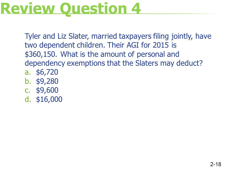 Review Question 4 Tyler and Liz Slater, married taxpayers filing jointly, have two dependent children. Their AGI for 2015 is $360,150. What is the amo