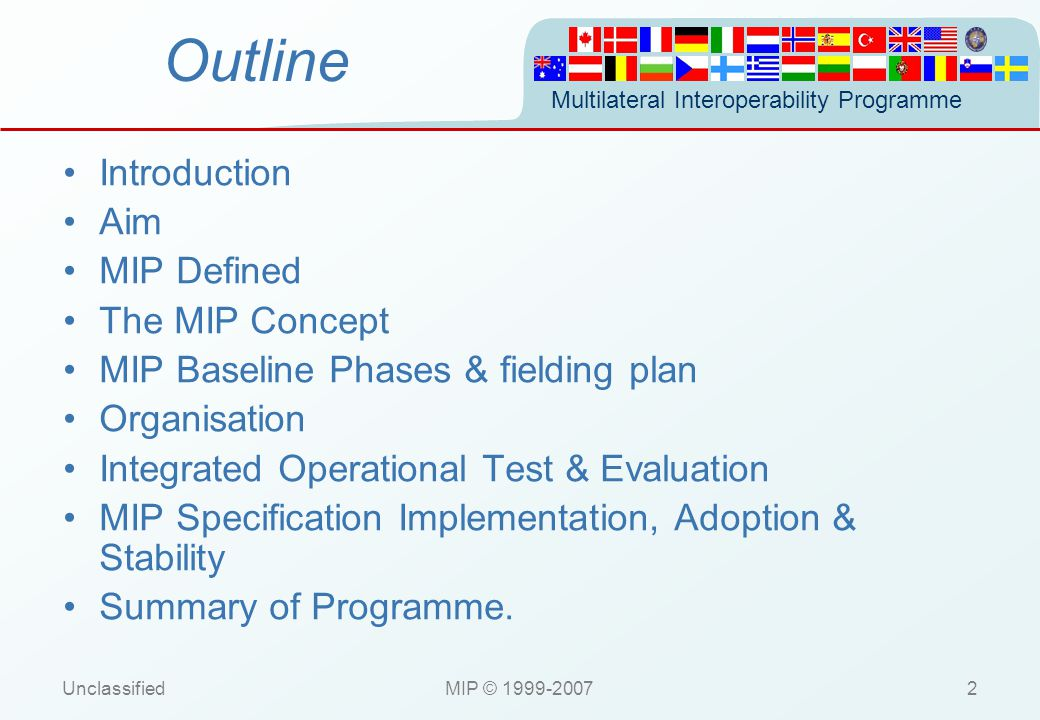 Multilateral Interoperability Programme UnclassifiedMIP © 1999-20073 Introduction (1) Looking for a Common Understanding of the Battlespace.