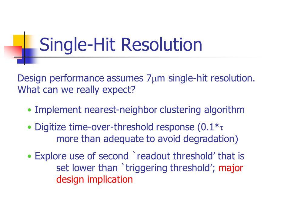Single-Hit Resolution Design performance assumes 7  m single-hit resolution.