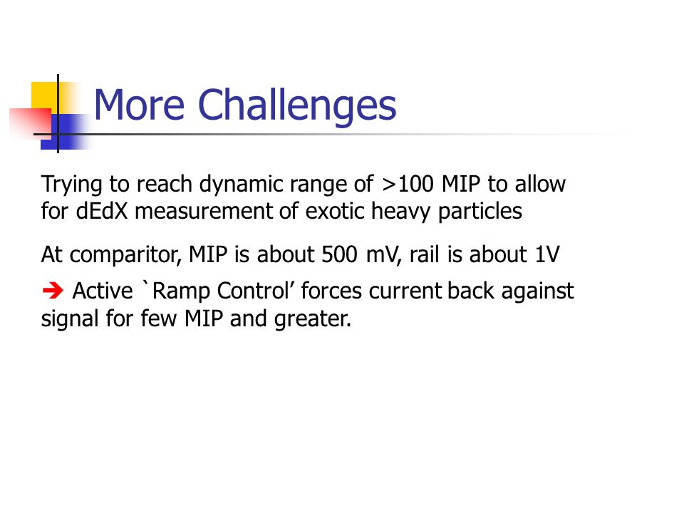 More Challenges Trying to reach dynamic range of >100 MIP to allow for dEdX measurement of exotic heavy particles At comparitor, MIP is about 500 mV, rail is about 1V  Active `Ramp Control' forces current back against signal for few MIP and greater.