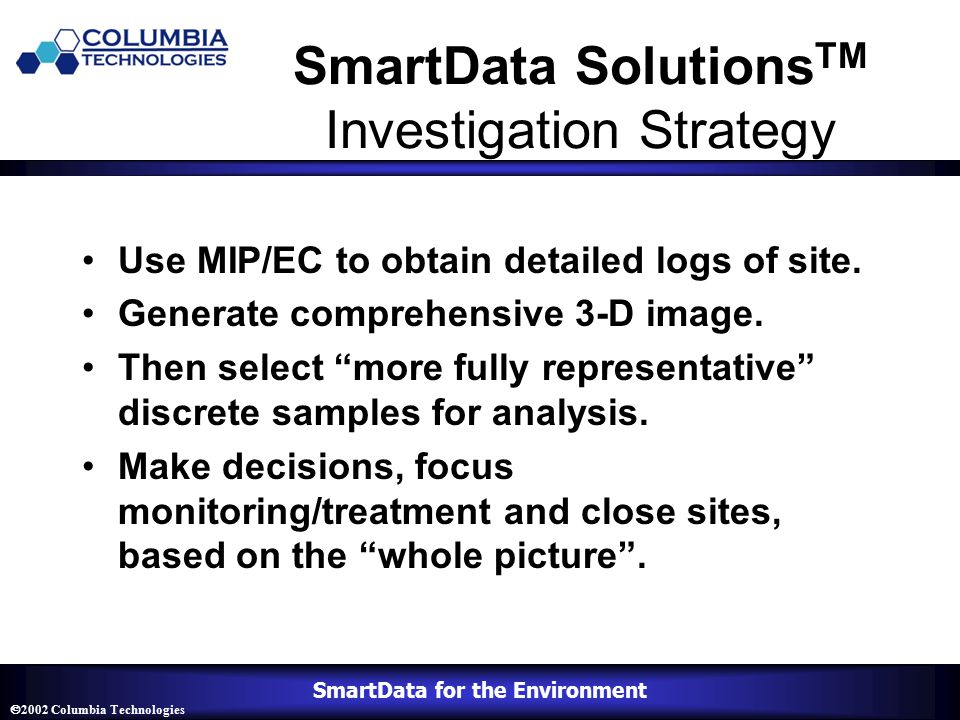 SmartData for the Environment  2002 Columbia Technologies SmartData Solutions TM Investigation Strategy Use MIP/EC to obtain detailed logs of site.