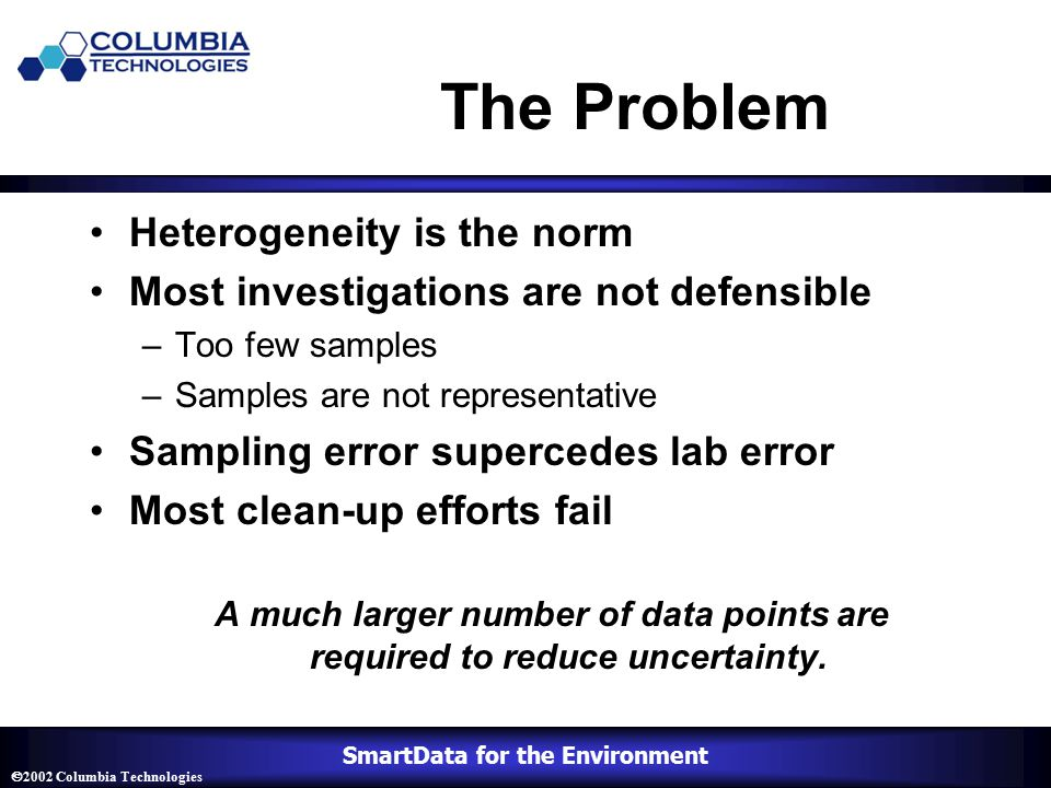 SmartData for the Environment  2002 Columbia Technologies The Problem Heterogeneity is the norm Most investigations are not defensible –Too few samples –Samples are not representative Sampling error supercedes lab error Most clean-up efforts fail A much larger number of data points are required to reduce uncertainty.