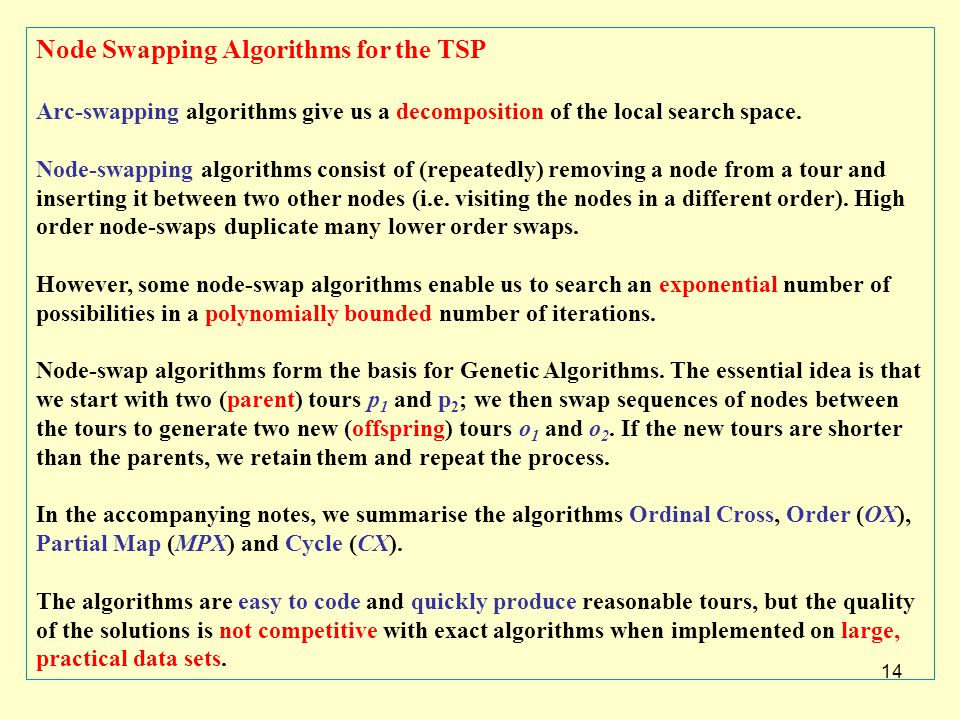 14 Node Swapping Algorithms for the TSP Arc-swapping algorithms give us a decomposition of the local search space. Node-swapping algorithms consist of