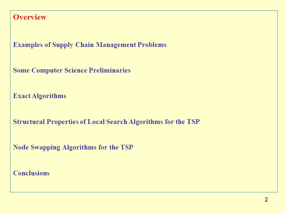 2 Overview Examples of Supply Chain Management Problems Some Computer Science Preliminaries Exact Algorithms Structural Properties of Local Search Alg
