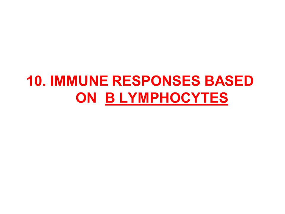 10. IMMUNE RESPONSES BASED ON B LYMPHOCYTES