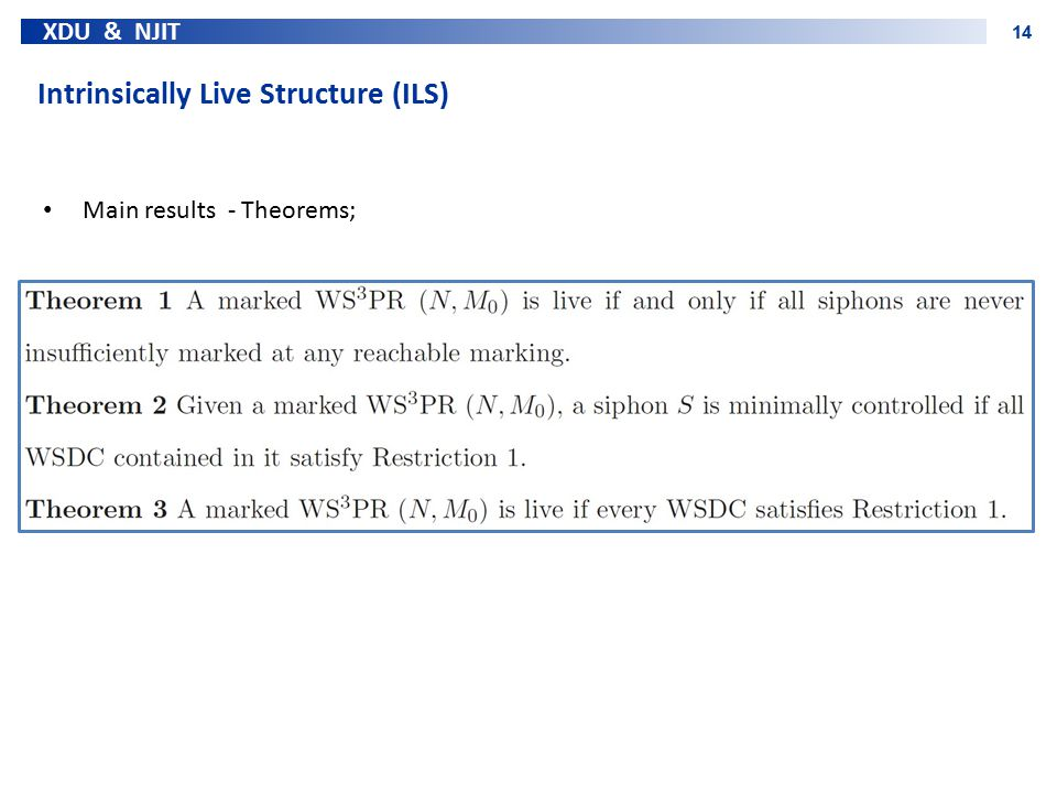 XDU & NJIT 14 Intrinsically Live Structure (ILS) Main results - Theorems;