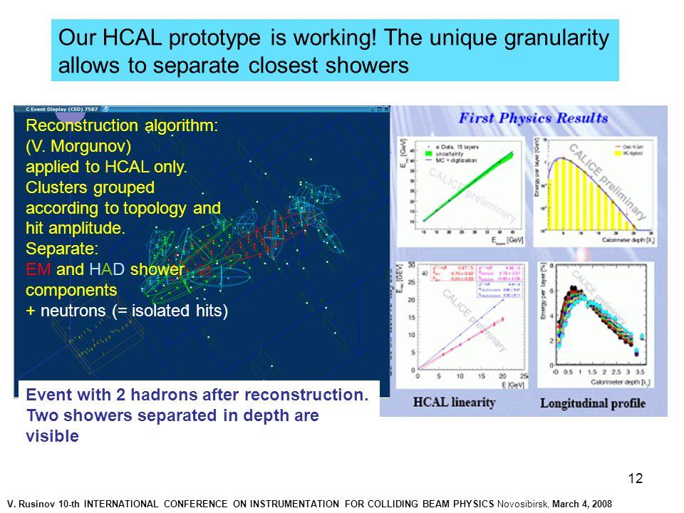 12 Reconstruction algorithm: (V. Morgunov) applied to HCAL only.