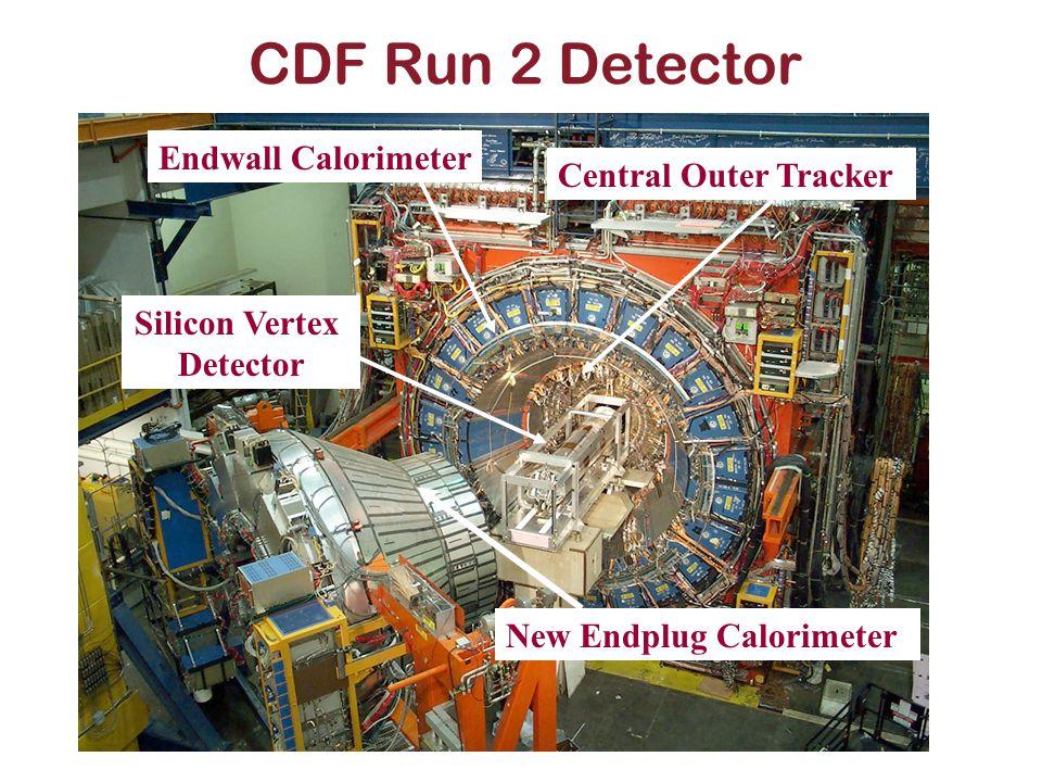 CDF Run 2 Detector New Endplug Calorimeter Endwall Calorimeter Central Outer Tracker Silicon Vertex Detector