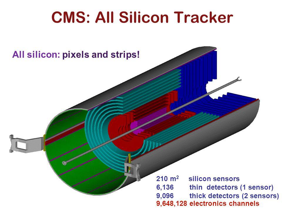 CMS: All Silicon Tracker All silicon: pixels and strips! 210 m 2 silicon sensors 6,136 thin detectors (1 sensor) 9,096 thick detectors (2 sensors) 9,6