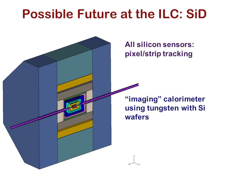"""Possible Future at the ILC: SiD All silicon sensors: pixel/strip tracking """"imaging"""" calorimeter using tungsten with Si wafers"""