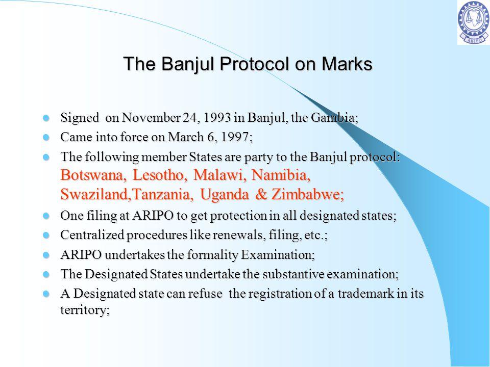 The Banjul Protocol on Marks The Banjul Protocol on Marks Signed on November 24, 1993 in Banjul, the Gambia; Signed on November 24, 1993 in Banjul, th
