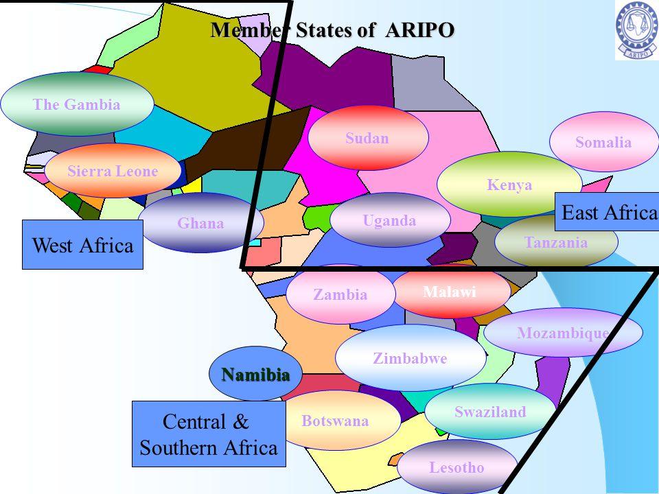Member States of ARIPO Member States of ARIPO Botswana Kenya Mozambique Somalia The Gambia Lesotho Sierra Leone Swaziland Tanzania Ghana Zimbabwe Mala
