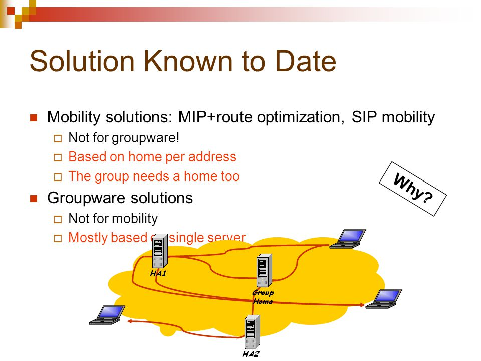 Solution Known to Date Mobility solutions: MIP+route optimization, SIP mobility  Not for groupware.