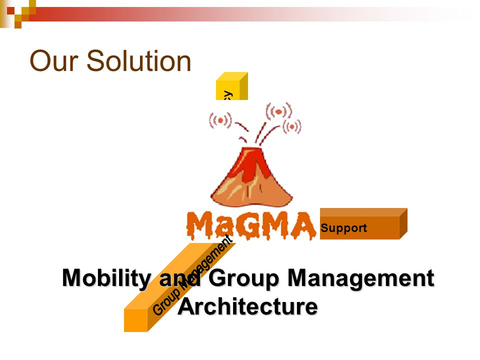 Our Solution Mobility Support Transport Efficiency Mobility and Group Management Architecture