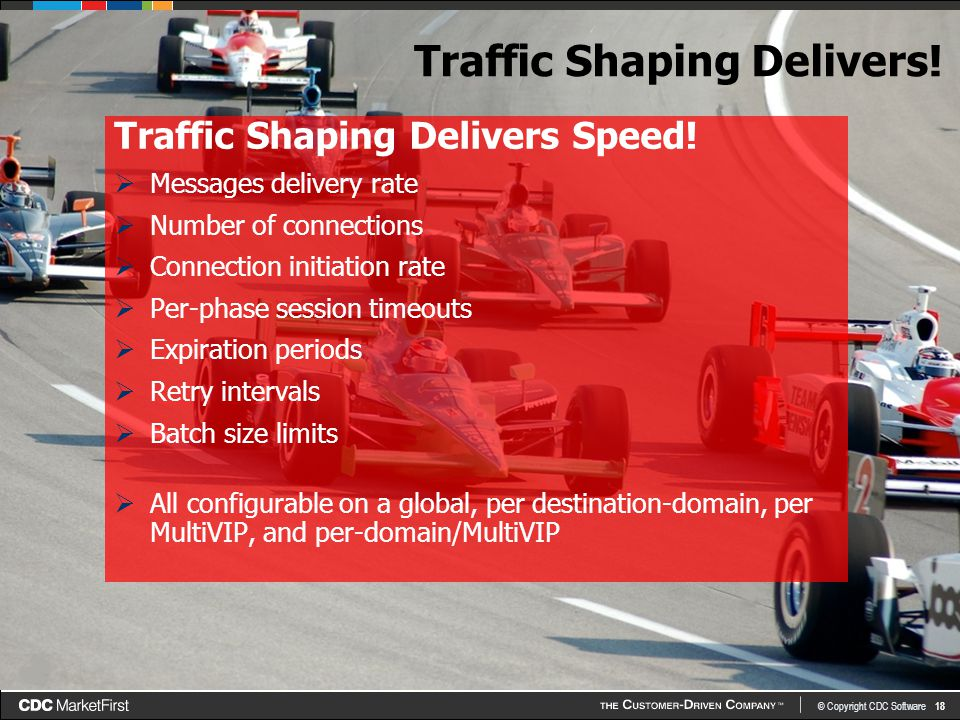 © Copyright CDC Software 18 Traffic Shaping Delivers.