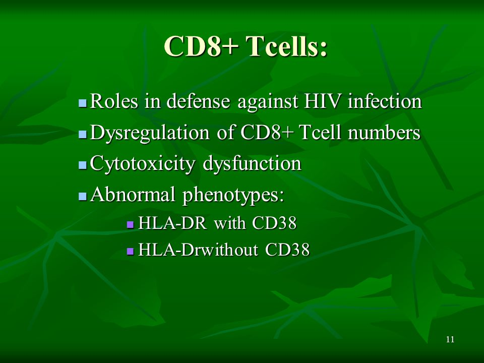 11 CD8+ Tcells: Roles in defense against HIV infection Roles in defense against HIV infection Dysregulation of CD8+ Tcell numbers Dysregulation of CD8+ Tcell numbers Cytotoxicity dysfunction Cytotoxicity dysfunction Abnormal phenotypes: Abnormal phenotypes: HLA-DR with CD38 HLA-DR with CD38 HLA-Drwithout CD38 HLA-Drwithout CD38