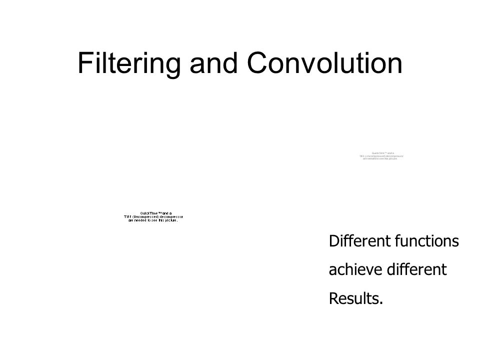 Filtering and Convolution Different functions achieve different Results.