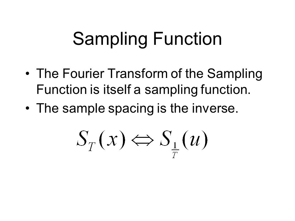 Sampling Function The Fourier Transform of the Sampling Function is itself a sampling function.