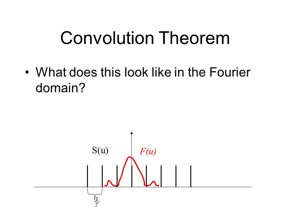 Convolution Theorem What does this look like in the Fourier domain F(u) S(u)