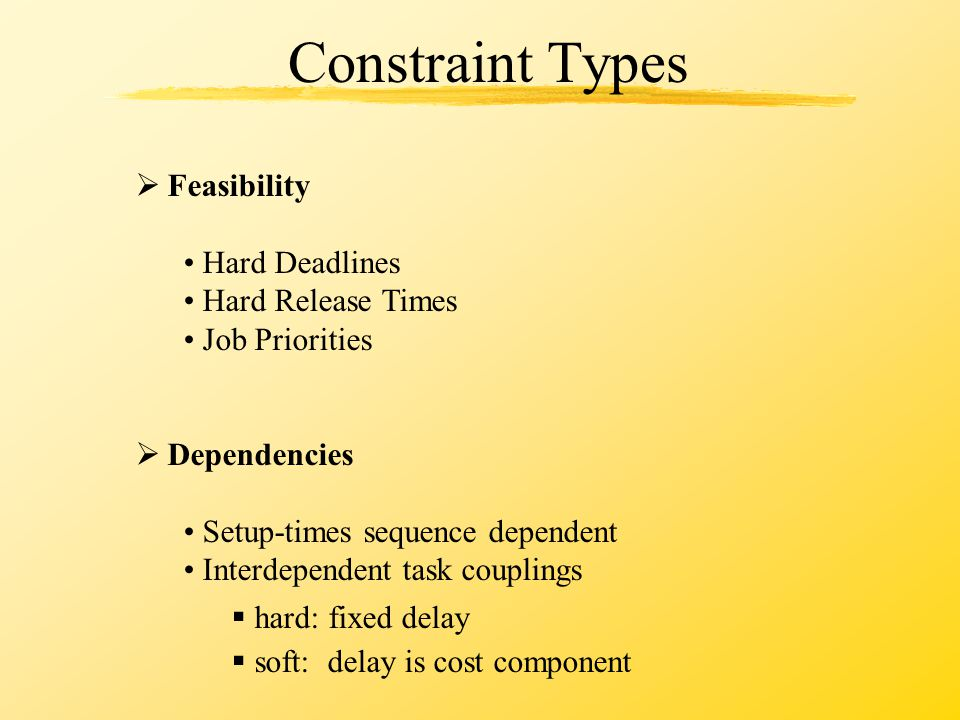 Constraint Types  Feasibility Hard Deadlines Hard Release Times Job Priorities  Dependencies Setup-times sequence dependent Interdependent task couplings  hard: fixed delay  soft: delay is cost component