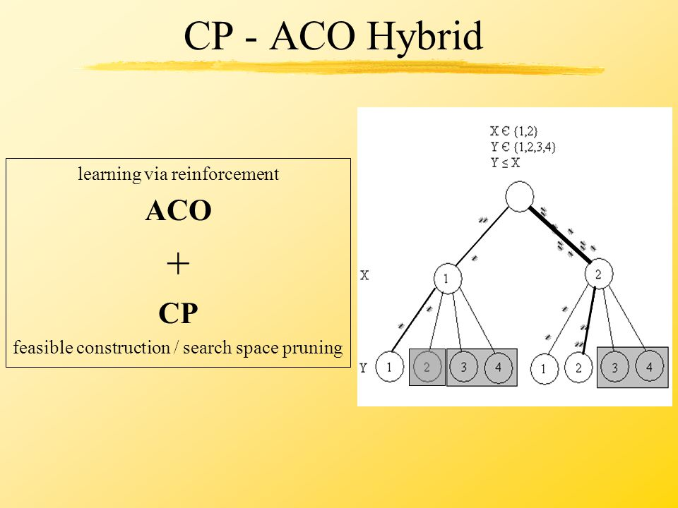 CP - ACO Hybrid learning via reinforcement ACO + CP feasible construction / search space pruning